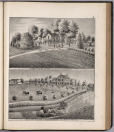 View: Residences of Wm. Stewart, Benjamin Burroughs, Adams County, Illinois.