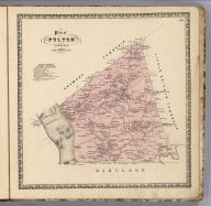 Plan of Fulton Township., Bridgens' Atlas Of Lancaster Co., Penna. From actual Surveys by H.F. Bridgens and Assistants, Published By D.S. Bare, Lancaster, Pa. Engraved & Printed at Jas. McGuigan's Lithc. Estabnt. S.E. Cor. Third & Dock Sts. Philada. Entered ... 1864, by H.F. Bridgens ... Penna., Fulton Township, Lancaster County, Pennsylvania.