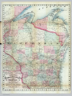 Rail Road & Township Map Of Wisconsin