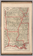 New Rail Road and County Map of Arkansas, Louisiana, and Mississippi.