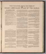 Advertisement: What Educators, People, and Press Say of Cram's Unrivaled Atlas of the World.
