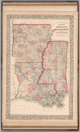 County map of the States of Arkansas, Mississippi and Louisiana
