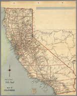 (County and Road) Map of California.