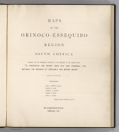 Title Page: Venezuela-Guyana Boundary; Orinoco-Essequibo Region, South America.