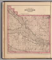 Map of Potter Township., Combination Atlas Map Of Yates County New York. Compiled, Drawn and Published From Personal Examinations and Surveys. Everts, Ensign & Everts, 714 & 716 Filbert St. Philadelphia. 1876. Thos. Hunter Pr. Phila. N. Friend, Engr. Philad. C.L. Smith, Del., Potter Township, Yates County, New York.