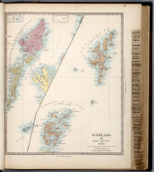 Scotland III. Orkneys, Shetlands. Hebrides., The Family Atlas Containing Eighty Maps, Constructed By Eminent Geographers, And Engraved On Steel, Under The Superintendence Of The Society For The Diffusion Of Useful Knowledge, Including The Geological Map Of England And Wales, By Sir I. Murchison, F.R.S., The Star Maps By Sir John Lubbock, Bart. And The Plans Of London And Paris, With The New Discoveries And Other Improvements To The Latest Date. And An Alphabetical Index. London: Edward Stanford, 6, Charing Cross. 1865.
