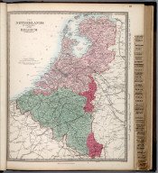 The Netherlands (De Nederlanden) and Belgium (La Belgique)., The Family Atlas Containing Eighty Maps, Constructed By Eminent Geographers, And Engraved On Steel, Under The Superintendence Of The Society For The Diffusion Of Useful Knowledge, Including The Geological Map Of England And Wales, By Sir I. Murchison, F.R.S., The Star Maps By Sir John Lubbock, Bart. And The Plans Of London And Paris, With The New Discoveries And Other Improvements To The Latest Date. And An Alphabetical Index. London: Edward Stanford, 6, Charing Cross. 1865., Netherlands and Belgium.