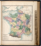 France in Provinces., The Family Atlas Containing Eighty Maps, Constructed By Eminent Geographers, And Engraved On Steel, Under The Superintendence Of The Society For The Diffusion Of Useful Knowledge, Including The Geological Map Of England And Wales, By Sir I. Murchison, F.R.S., The Star Maps By Sir John Lubbock, Bart. And The Plans Of London And Paris, With The New Discoveries And Other Improvements To The Latest Date. And An Alphabetical Index. London: Edward Stanford, 6, Charing Cross. 1865.