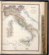 Italy General Map including Sicily, Malta, Sardinia, Corsica, &c., The Family Atlas Containing Eighty Maps, Constructed By Eminent Geographers, And Engraved On Steel, Under The Superintendence Of The Society For The Diffusion Of Useful Knowledge, Including The Geological Map Of England And Wales, By Sir I. Murchison, F.R.S., The Star Maps By Sir John Lubbock, Bart. And The Plans Of London And Paris, With The New Discoveries And Other Improvements To The Latest Date. And An Alphabetical Index. London: Edward Stanford, 6, Charing Cross. 1865., Italy.