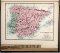 Spain and Portugal in Provinces., The Family Atlas Containing Eighty Maps, Constructed By Eminent Geographers, And Engraved On Steel, Under The Superintendence Of The Society For The Diffusion Of Useful Knowledge, Including The Geological Map Of England And Wales, By Sir I. Murchison, F.R.S., The Star Maps By Sir John Lubbock, Bart. And The Plans Of London And Paris, With The New Discoveries And Other Improvements To The Latest Date. And An Alphabetical Index. London: Edward Stanford, 6, Charing Cross. 1865.