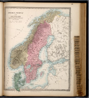 Sweden, Norway, and Denmark., The Family Atlas Containing Eighty Maps, Constructed By Eminent Geographers, And Engraved On Steel, Under The Superintendence Of The Society For The Diffusion Of Useful Knowledge, Including The Geological Map Of England And Wales, By Sir I. Murchison, F.R.S., The Star Maps By Sir John Lubbock, Bart. And The Plans Of London And Paris, With The New Discoveries And Other Improvements To The Latest Date. And An Alphabetical Index. London: Edward Stanford, 6, Charing Cross. 1865.