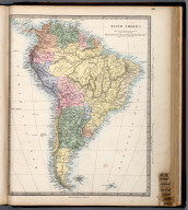 South America., The Family Atlas Containing Eighty Maps, Constructed By Eminent Geographers, And Engraved On Steel, Under The Superintendence Of The Society For The Diffusion Of Useful Knowledge, Including The Geological Map Of England And Wales, By Sir I. Murchison, F.R.S., The Star Maps By Sir John Lubbock, Bart. And The Plans Of London And Paris, With The New Discoveries And Other Improvements To The Latest Date. And An Alphabetical Index. London: Edward Stanford, 6, Charing Cross. 1865.