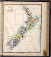 The Islands of New Zealand., The Family Atlas Containing Eighty Maps, Constructed By Eminent Geographers, And Engraved On Steel, Under The Superintendence Of The Society For The Diffusion Of Useful Knowledge, Including The Geological Map Of England And Wales, By Sir I. Murchison, F.R.S., The Star Maps By Sir John Lubbock, Bart. And The Plans Of London And Paris, With The New Discoveries And Other Improvements To The Latest Date. And An Alphabetical Index. London: Edward Stanford, 6, Charing Cross. 1865., New Zealand.