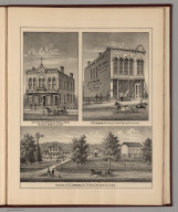 View: City Hall, Post Office & Ida Public Library. Sabin's Store, Boone County, Illinois.