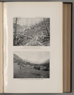 View: Plate VI. A. Burnt Mountainside not Restocked. B. Hannon's Ranch and Valley of Storehouse Creek.
