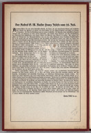 Text: The Call of G.M. Emperor (Kaiser) Franz Joseph of July 28th, 1915.