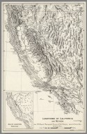 Landforms of California and Nevada from W.W. Atwood: Physiographic Provinces of North America. Ginn & Co. Boston, Mass. by Erwin Raisz. (inset) Major Landforms Regions., (A Set of Landform and Outline Maps by Erwin Raisz)., Landforms of California and Nevada.
