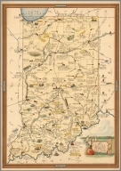 A Map of Indiana Showing its History, Points of Interest, and the Holdings of the Dept. Of Conservation.