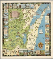 A historical map of Madison. Designed by Laura Kremers of the Colt Studio of Commercial Art, Madison, Wisconsin.