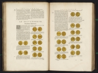 (Text page to) [double page of text - Ad Britannorum - including illustrations of coins], Atlas Maior Sive Cosmographia Blaviana, Qua Solvm, Salvm, Coelvm, Accvratissime Describvntvr., Text: [double page of text - Ad Britannorum - including illustrations of coins]