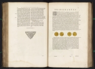 (Text page to) [text page with illustration of coins], Atlas Maior Sive Cosmographia Blaviana, Qua Solvm, Salvm, Coelvm, Accvratissime Describvntvr., Text: [text page with illustration of coins]