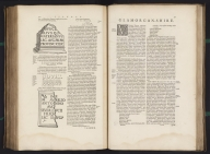 (Text page to) [text page - antique monuments with Ronan(?) inscriptions], Atlas Maior Sive Cosmographia Blaviana, Qua Solvm, Salvm, Coelvm, Accvratissime Describvntvr., Text: [text page - antique monuments with Ronan(?) inscriptions]