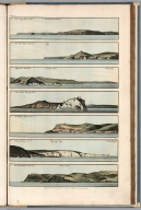 Plate 4. 1. Berry Head, S.W. Dartmouth Mewstone. 2. Ram Head, W.N.W. Foy. 3. Plymouth Mewstone. Yealme River. 4. Needles bearing East. 5. St. Albans Head W. & N. 6. Piveral Point, N.& E. Swanage Bay. 7. Bolt Head, W.N.W. Praul Point. Engrave'd for I.T. Serres's Little Sea Torch, & Pub. by him, London, 1801., The little sea torch: or, True guide for coasting pilots: by which they are clearly instructed how to navigate along the coasts of England, Ireland, France, Spain, Portugal, Italy, and Sicily; the isles of Malta, Corsica, Sardinia, and others in the straits; and of the coast of Barbary, from Cape Bon to Cape de Verd. Enriched with upwards of one hundred appearances of headlands and lighthouses. Together with plans of the principal harbors. Also a table of soundings, and various explanatory remarks. ... Translated from the French of Le Sieur Bougard, with corrections and additions, by J. T. Serres ... London: Published for the author, by J. Debett, Piccadilly; and also by Messrs, G. and W. Nicol, Booksellers to his Majesty ... 1801. Printed by T. Rochaby, Peterborough-Court, Fleet-Street., Plate 4. 7 Views