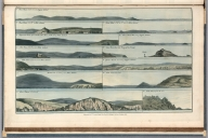 Plate 5. 1. Ram Head. 2. Ram Head (N.W.). 3. Plimouth Sound. 4. Mew Stone. 5. Stoke Point. 6. Moddicomb. 7. Burr Island. 8. Ram Head (N.W.). 9. Ram Head (W.). 10. Mew Stone de Buoy of the Knapp. 11. Ialme Church. 12. Stoke Point. 13. Bolt Head. Engrave'd for I.T. Serres's Little Sea Torch, & Pub. by him, London, 1801., The little sea torch: or, True guide for coasting pilots: by which they are clearly instructed how to navigate along the coasts of England, Ireland, France, Spain, Portugal, Italy, and Sicily; the isles of Malta, Corsica, Sardinia, and others in the straits; and of the coast of Barbary, from Cape Bon to Cape de Verd. Enriched with upwards of one hundred appearances of headlands and lighthouses. Together with plans of the principal harbors. Also a table of soundings, and various explanatory remarks. ... Translated from the French of Le Sieur Bougard, with corrections and additions, by J. T. Serres ... London: Published for the author, by J. Debett, Piccadilly; and also by Messrs, G. and W. Nicol, Booksellers to his Majesty ... 1801. Printed by T. Rochaby, Peterborough-Court, Fleet-Street., Plate 5. 13 Views