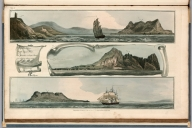 Plate 8. 1,2, 3, Gibraltar Town; Signal House ; Gibraltar or Europa Point; Cabrita Point on the Cost of Spain. Engrave'd for I.T. Serres's Little Sea Torch, & Pub. by him, London, 1801., The little sea torch: or, True guide for coasting pilots: by which they are clearly instructed how to navigate along the coasts of England, Ireland, France, Spain, Portugal, Italy, and Sicily; the isles of Malta, Corsica, Sardinia, and others in the straits; and of the coast of Barbary, from Cape Bon to Cape de Verd. Enriched with upwards of one hundred appearances of headlands and lighthouses. Together with plans of the principal harbors. Also a table of soundings, and various explanatory remarks. ... Translated from the French of Le Sieur Bougard, with corrections and additions, by J. T. Serres ... London: Published for the author, by J. Debett, Piccadilly; and also by Messrs, G. and W. Nicol, Booksellers to his Majesty ... 1801. Printed by T. Rochaby, Peterborough-Court, Fleet-Street., Plate 8. 3 Views