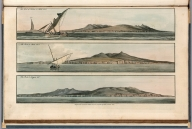 Plate 9. 1. The Rock of Lisbon, 4 Miles dist. 2. The rock, 2 Miles dist. 3. Therock, 2 Leagues dist. Engrave'd for I.T. Serres's Little Sea Torch, & Pub. by him, London, 1801., The little sea torch: or, True guide for coasting pilots: by which they are clearly instructed how to navigate along the coasts of England, Ireland, France, Spain, Portugal, Italy, and Sicily; the isles of Malta, Corsica, Sardinia, and others in the straits; and of the coast of Barbary, from Cape Bon to Cape de Verd. Enriched with upwards of one hundred appearances of headlands and lighthouses. Together with plans of the principal harbors. Also a table of soundings, and various explanatory remarks. ... Translated from the French of Le Sieur Bougard, with corrections and additions, by J. T. Serres ... London: Published for the author, by J. Debett, Piccadilly; and also by Messrs, G. and W. Nicol, Booksellers to his Majesty ... 1801. Printed by T. Rochaby, Peterborough-Court, Fleet-Street., Plate 9. 3 Views
