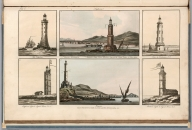 Plate 11. 1. Edystone. 2. Entrance of the Inner Harbour between the Castel Vechio & Town Gate. 3. Cordouan. 4. Chefseron Ligth. 5. Genoa. 6. Balaine Light. Engrave'd for I.T. Serres's Little Sea Torch, & Pub. by him, London, 1801., The little sea torch: or, True guide for coasting pilots: by which they are clearly instructed how to navigate along the coasts of England, Ireland, France, Spain, Portugal, Italy, and Sicily; the isles of Malta, Corsica, Sardinia, and others in the straits; and of the coast of Barbary, from Cape Bon to Cape de Verd. Enriched with upwards of one hundred appearances of headlands and lighthouses. Together with plans of the principal harbors. Also a table of soundings, and various explanatory remarks. ... Translated from the French of Le Sieur Bougard, with corrections and additions, by J. T. Serres ... London: Published for the author, by J. Debett, Piccadilly; and also by Messrs, G. and W. Nicol, Booksellers to his Majesty ... 1801. Printed by T. Rochaby, Peterborough-Court, Fleet-Street., Plate 11. 6 Views