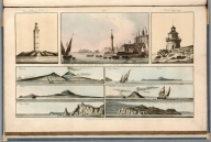 Plate 12. 1. Tower of Hercules. 2. Vesuvius. 3. Ischia. 4. Cape Antifer. 5. Castello Nuovo. 6. Dublin Ligth house. 7. Capria. 8. Stromboli. 9. Cape St. Antonio, in the Bay of Biscay. Engrave'd for I.T. Serres's Little Sea Torch, & Pub. by him, London, 1801., The little sea torch: or, True guide for coasting pilots: by which they are clearly instructed how to navigate along the coasts of England, Ireland, France, Spain, Portugal, Italy, and Sicily; the isles of Malta, Corsica, Sardinia, and others in the straits; and of the coast of Barbary, from Cape Bon to Cape de Verd. Enriched with upwards of one hundred appearances of headlands and lighthouses. Together with plans of the principal harbors. Also a table of soundings, and various explanatory remarks. ... Translated from the French of Le Sieur Bougard, with corrections and additions, by J. T. Serres ... London: Published for the author, by J. Debett, Piccadilly; and also by Messrs, G. and W. Nicol, Booksellers to his Majesty ... 1801. Printed by T. Rochaby, Peterborough-Court, Fleet-Street., Plate 12. 9 Views