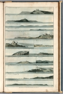 Plate 13. 1. Lizard, N.W. 2. Lizard, N.E. 3. Lands-ens. 4. Lizard, N.N.W. 5. Pendennis Castle. 6. St. Maws Castle. 7. Falmouth. 8. Dodman. 9. Dodman, N.W. e W. 10. Pendennis Castle. 11. Black-head. 12. Manacles Point. 13. Port Mellon. 14. Mevagezzey Bay. 15. Rams head.Engrave'd for I.T. Serres's Little Sea Torch, & Pub. by him, London, 1801., The little sea torch: or, True guide for coasting pilots: by which they are clearly instructed how to navigate along the coasts of England, Ireland, France, Spain, Portugal, Italy, and Sicily; the isles of Malta, Corsica, Sardinia, and others in the straits; and of the coast of Barbary, from Cape Bon to Cape de Verd. Enriched with upwards of one hundred appearances of headlands and lighthouses. Together with plans of the principal harbors. Also a table of soundings, and various explanatory remarks. ... Translated from the French of Le Sieur Bougard, with corrections and additions, by J. T. Serres ... London: Published for the author, by J. Debett, Piccadilly; and also by Messrs, G. and W. Nicol, Booksellers to his Majesty ... 1801. Printed by T. Rochaby, Peterborough-Court, Fleet-Street., Plate 13. 15 Views