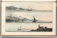 Plate 17. 1. Nice. 2. The light house of Villa France. Entrance of Monaco. 3. The Island of St. Marguerite, opposite to Cannes in Provence. Cannes Ligth-house. Engrave'd for I.T. Serres's Little Sea Torch, & Pub. by him, London, 1801., The little sea torch: or, True guide for coasting pilots: by which they are clearly instructed how to navigate along the coasts of England, Ireland, France, Spain, Portugal, Italy, and Sicily; the isles of Malta, Corsica, Sardinia, and others in the straits; and of the coast of Barbary, from Cape Bon to Cape de Verd. Enriched with upwards of one hundred appearances of headlands and lighthouses. Together with plans of the principal harbors. Also a table of soundings, and various explanatory remarks. ... Translated from the French of Le Sieur Bougard, with corrections and additions, by J. T. Serres ... London: Published for the author, by J. Debett, Piccadilly; and also by Messrs, G. and W. Nicol, Booksellers to his Majesty ... 1801. Printed by T. Rochaby, Peterborough-Court, Fleet-Street., Plate 17. 3 Views