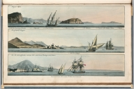 Plate 18. 1. Bay of Naples. 2. Gulph of Spezzia. 3. The new mole of Gibraltar. Engrave'd for I.T. Serres's Little Sea Torch, & Pub. by him, London, 1801., The little sea torch: or, True guide for coasting pilots: by which they are clearly instructed how to navigate along the coasts of England, Ireland, France, Spain, Portugal, Italy, and Sicily; the isles of Malta, Corsica, Sardinia, and others in the straits; and of the coast of Barbary, from Cape Bon to Cape de Verd. Enriched with upwards of one hundred appearances of headlands and lighthouses. Together with plans of the principal harbors. Also a table of soundings, and various explanatory remarks. ... Translated from the French of Le Sieur Bougard, with corrections and additions, by J. T. Serres ... London: Published for the author, by J. Debett, Piccadilly; and also by Messrs, G. and W. Nicol, Booksellers to his Majesty ... 1801. Printed by T. Rochaby, Peterborough-Court, Fleet-Street., Plate 18. 3 Views