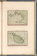 Naples. the Bay of Naples ranks with the most capacious of the harbours of Italy. (with) Malta, an island of the Mediterranean Sea, Valette, its capital. Engrave'd by J. Luffman for Mr. Serres, Little sea torch. Published June 1801., The little sea torch: or, True guide for coasting pilots: by which they are clearly instructed how to navigate along the coasts of England, Ireland, France, Spain, Portugal, Italy, and Sicily; the isles of Malta, Corsica, Sardinia, and others in the straits; and of the coast of Barbary, from Cape Bon to Cape de Verd. Enriched with upwards of one hundred appearances of headlands and lighthouses. Together with plans of the principal harbors. Also a table of soundings, and various explanatory remarks. ... Translated from the French of Le Sieur Bougard, with corrections and additions, by J. T. Serres ... London: Published for the author, by J. Debett, Piccadilly; and also by Messrs, G. and W. Nicol, Booksellers to his Majesty ... 1801. Printed by T. Rochaby, Peterborough-Court, Fleet-Street., Naples. Malta