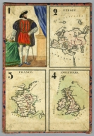 1-4: Playing card- maps. Europe. France. Angleterre.