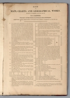 Advertisement: List of Maps, Charts, and Geographical Works Recently Published by H.S. Tanner.