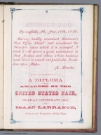 Text Page: A diploma was awarded by the United States Fair,1860, to Isaac Larrance