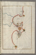 fol. 313b Eastern Mediterranean coastline (here marked as the Gulf of Aqaba) with the cities of Jaffa and Caesarea (present-day Israel)