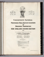Title Page and Legend: Nirenstein's National Preferred Real Estate Locations of Business Properties, New England States Edition.