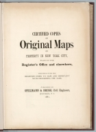 Title Page: Certified copies of original maps of property in New York City