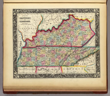 County Map Of Kentucky, And Tennessee.