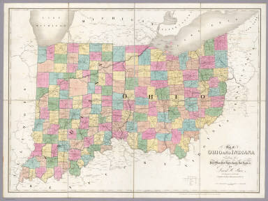 Map Of Indiana And Ohio Map of Ohio And Indiana. / Burr, David H., 1803 1875 / 1839 Map Of Indiana And Ohio