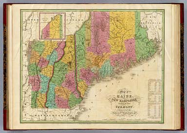 Map of Maine New Hampshire And Vermont.