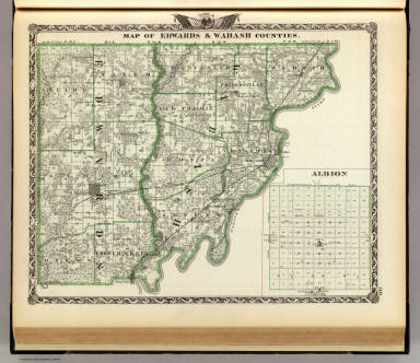 Map of Edwards & Wabash counties and Albion.