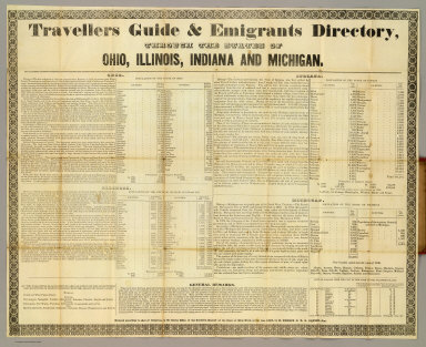 Travellers guide & emigrants directory, through the states of Ohio, Illinois, Indiana and Michigan.