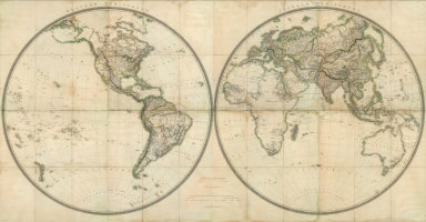David rumsey historical map collection november 20 2009 1238 western hemisphere eastern hemisphere 1825 gardner james london with 48 inch spheres this may be one of the largest world maps produced in the early gumiabroncs Gallery