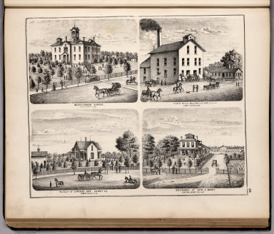 View: Maplewood School. Casco Mills, William L. Oliver, Proprietor. Residences of Adams County, Illinois.