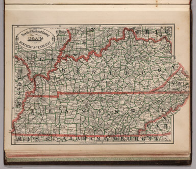 New Rail Road and County Map of Kentucky and Tennessee.